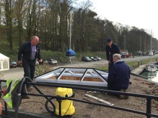 Mike Bunn, Des Cowan & Roland Marriott fitting new roof light to Cromer Room.JPG